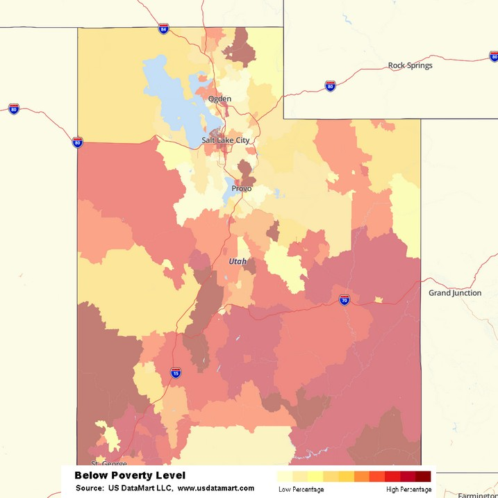 Utah Poverty Level Heatmap Heat Map